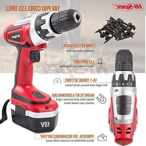 Hi-Spec 18 Combo Cordless Drill with mAh Battery, Position Clutch, Variable Speed & 30 and Bit Accessory Set Case