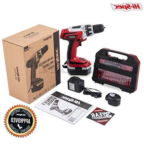 Hi-Spec 18 V Combo Cordless Drill with 1000 mAh Battery, Clutch, Switch & and Bit Set in Compact Case