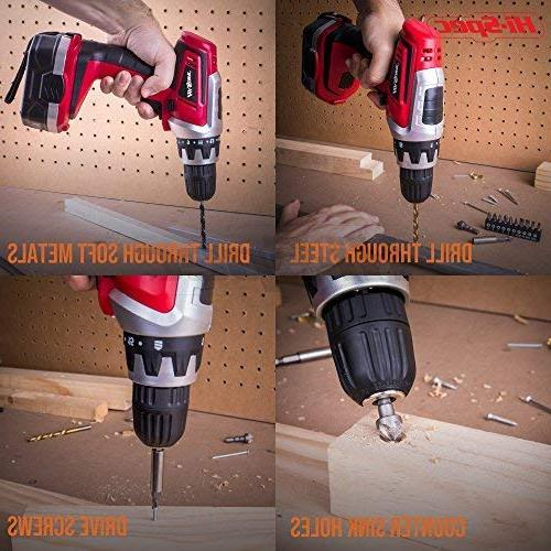 Hi-Spec V Combo Drill with mAh Ni-MH Battery, 17 Clutch, & Drill and Screwdriver Set Compact Case