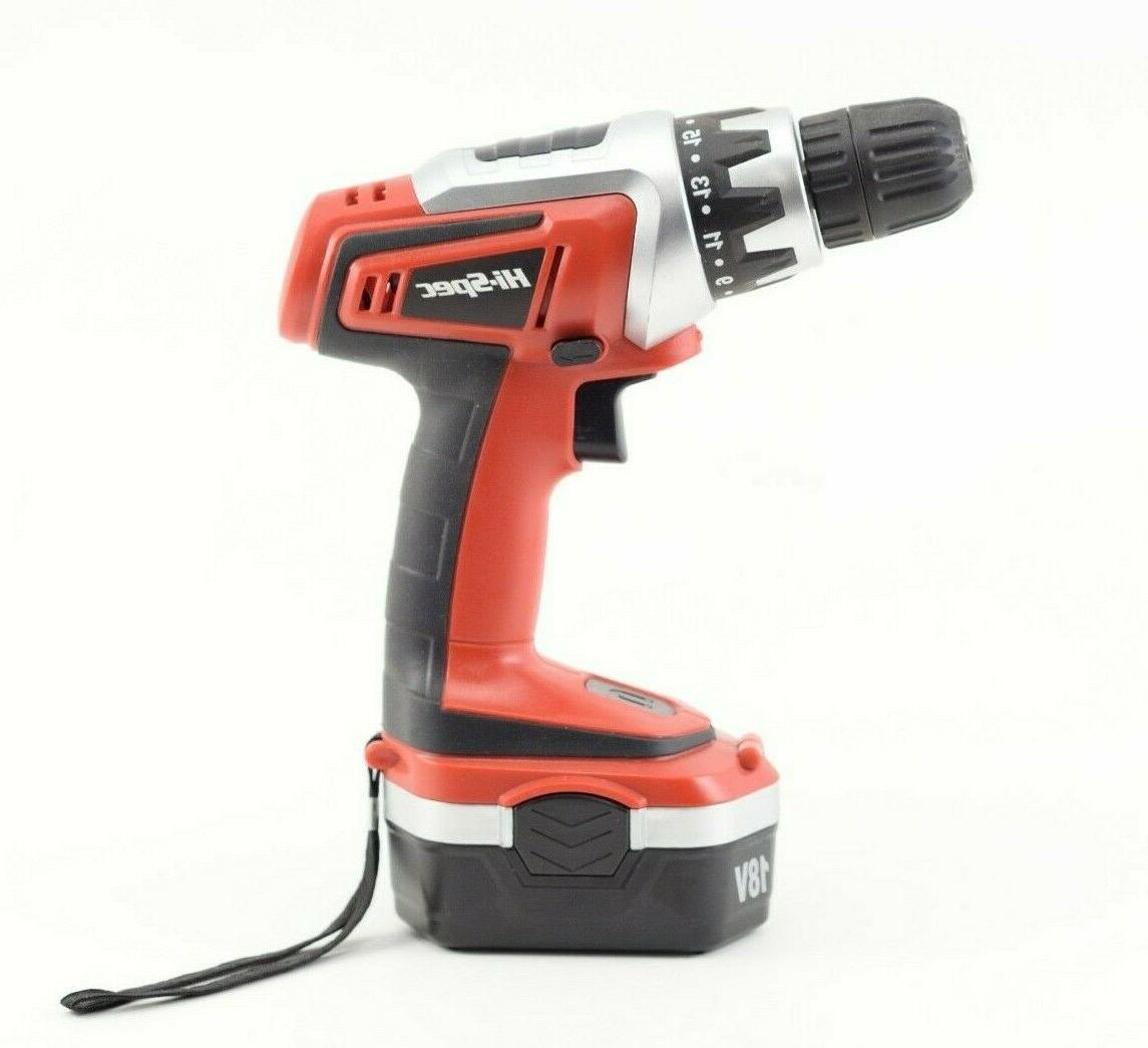Hi-Spec 18 V Combo Drill Driver with Battery, Clutch, Variable Switch & 30 and Bit Accessory Set in Compact Case