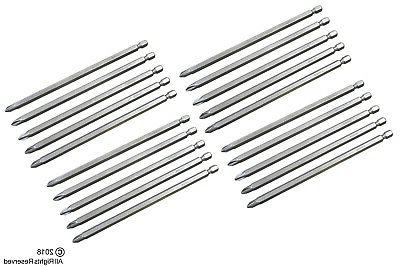 "20 pc 6"" INCH TOOLUXE #2 PHILLIPS SCREW STEEL DRILL BITS W/"