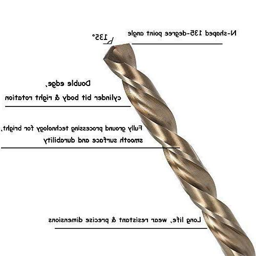 Migiwata Metric M35 Steel Extremely Twist Drill with Straight Shank Set 13pcs Hard Such Stainless and Cast Iron