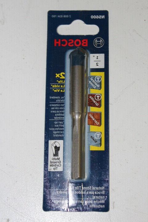 """Bosch NS600 1/2"""" Carbide Tipped Drill Bit For Stone,Granite,"""