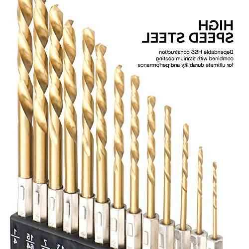 """Tooluxe 13-Piece Drill High Speed Steel Change 1/4"""""""