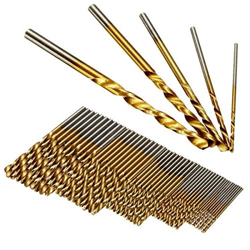 50Pcs Twist Drill Set, DRILLPRO Titanium Steel, Mini Drill Micro 1/1.5/2/2.5/3mm, Perfect for Steel and Aluminum Alloy