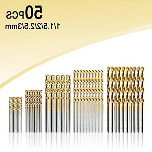 50Pcs Drill Set, DRILLPRO Titanium High Steel, Mini Drill Micro 1/1.5/2/2.5/3mm, Perfect for Wood, and Aluminum