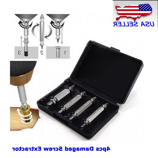 NEW USA 4PCS Screw Extractor Broken Bolt Drill Bits Easy Out