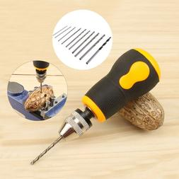 Micro Mini Portable Small Hand Drill with 10pcs 0.8-3.0mm Tw