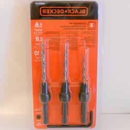 NEW Black + Decker 3 piece Countersink Set Drill Bits #6 #8