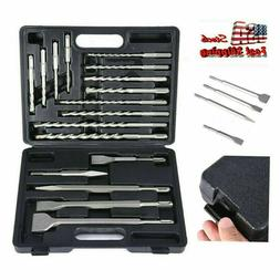 New 17pc Rotary Hammer Drill SDS+ Plus Bit Bits Chisel Set C