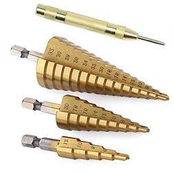 3Pcs High-Speed Steel Step Drill Bit Set with Automatic Spri
