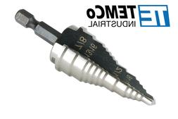 """TEMCo Step Drill Bit M35 Cobalt 3/16"""" - 15/16"""" for Electrici"""