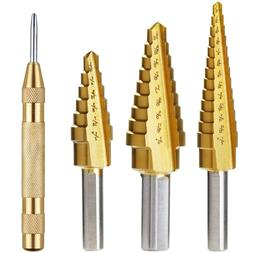 Vastar Titanium Step Drill Bit Set, 3-Piece Set & Automatic