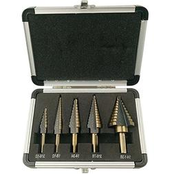 FeelGlad5pcs Titanium Step Drill Bits Set with Aluminum Case