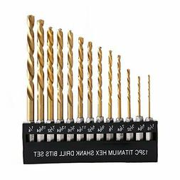 COMOWARE Titanium Twist Drill Bit Set - 13 Pcs Hex Shank Hig