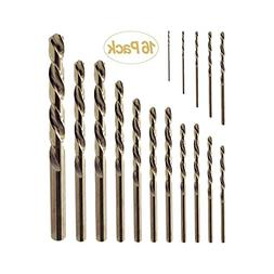 Gazeto 16PCS Twist Drill Bit Set, 1mm-10mm M35 HSS Metal Dri