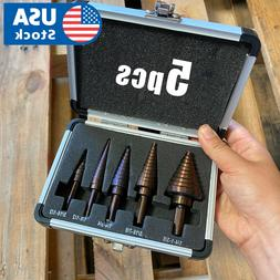 USA 5Pcs Large Metal Step Drill Bit Set HSS Multiple Hole 50